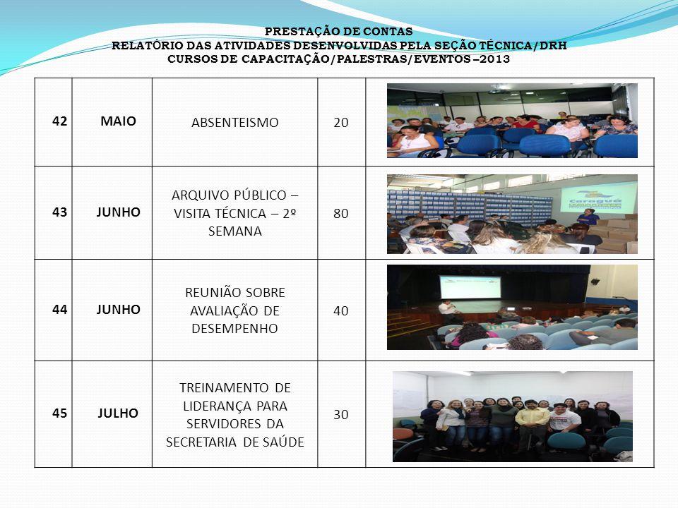 CURSOS DE CAPACITAÇÃO/PALESTRAS/EVENTOS –2013