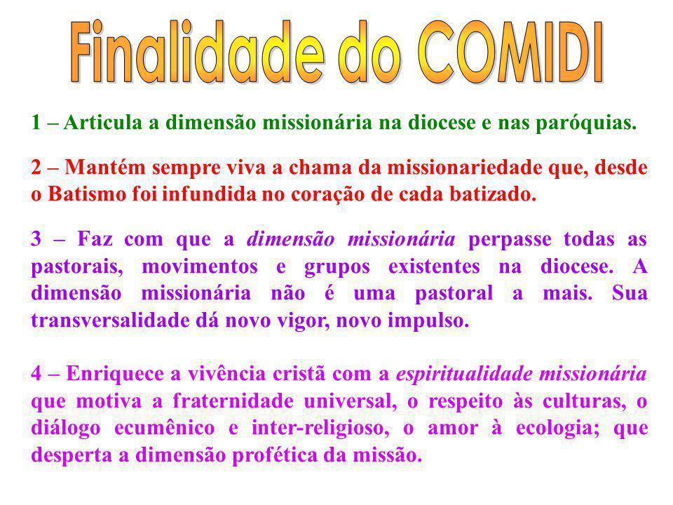 Finalidade do COMIDI 1 – Articula a dimensão missionária na diocese e nas paróquias.