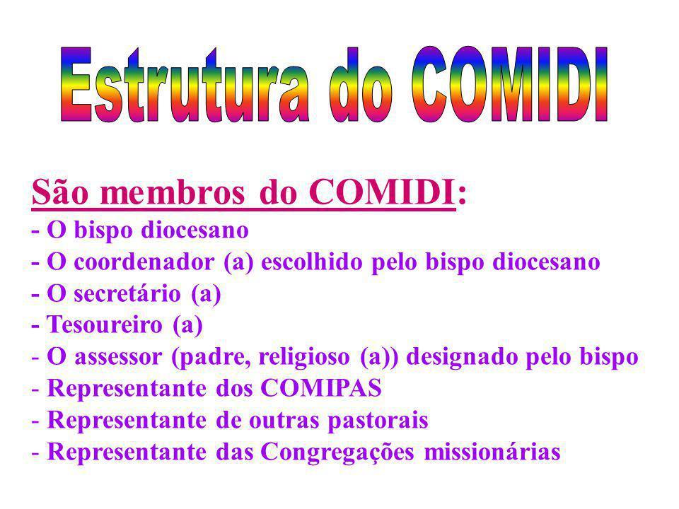 São membros do COMIDI: Estrutura do COMIDI - O bispo diocesano