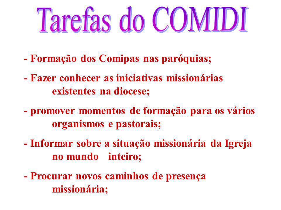 Tarefas do COMIDI - Formação dos Comipas nas paróquias;