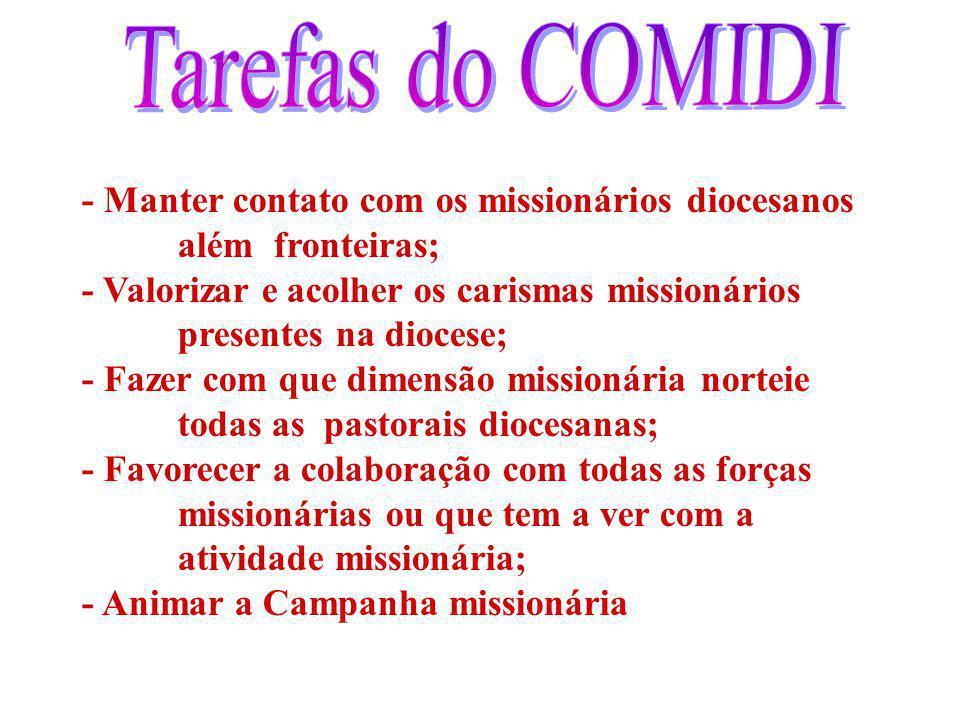 Tarefas do COMIDI - Manter contato com os missionários diocesanos além fronteiras;
