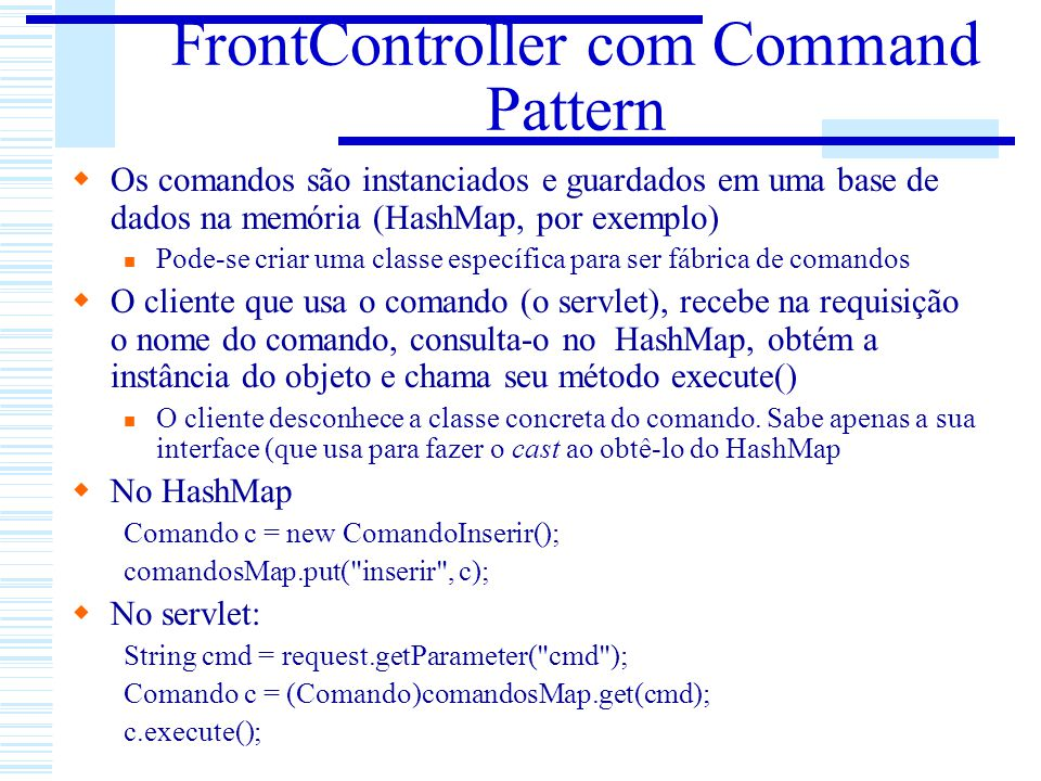 FrontController com Command Pattern