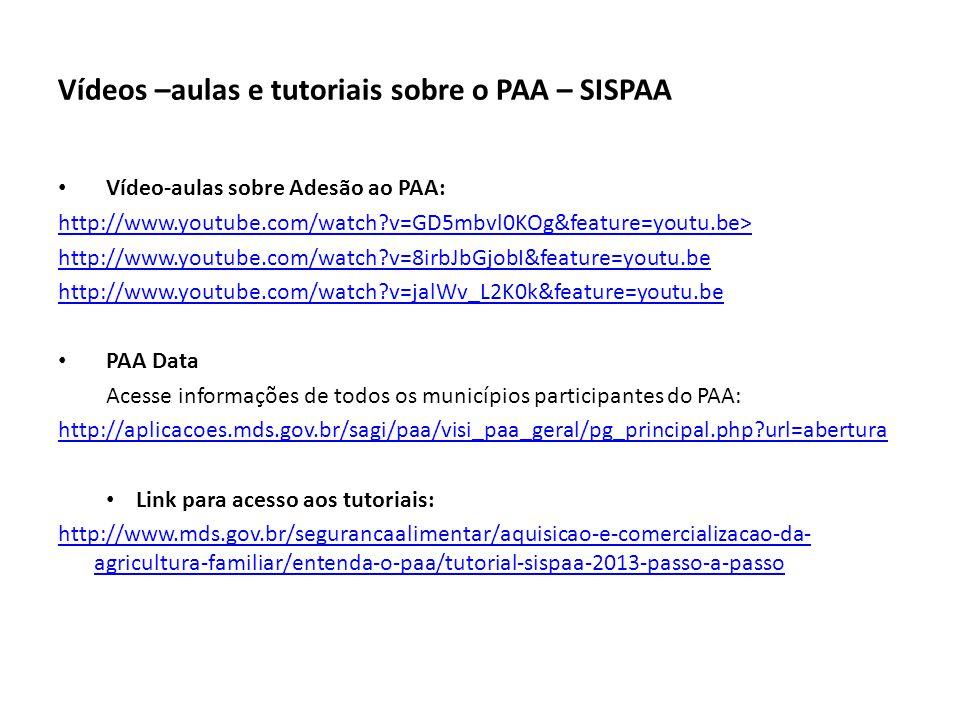Vídeos –aulas e tutoriais sobre o PAA – SISPAA