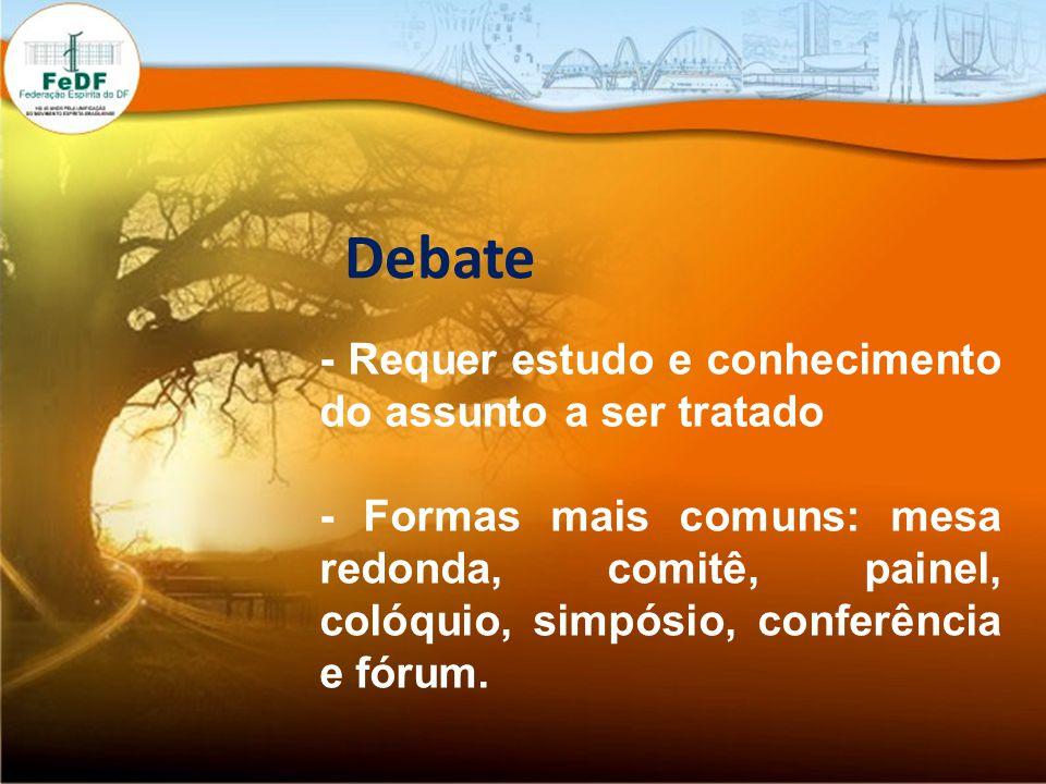 Debate - Requer estudo e conhecimento do assunto a ser tratado