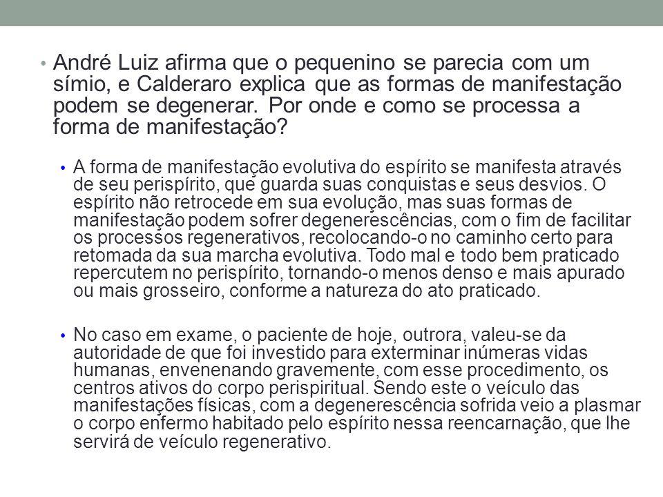 André Luiz afirma que o pequenino se parecia com um símio, e Calderaro explica que as formas de manifestação podem se degenerar. Por onde e como se processa a forma de manifestação