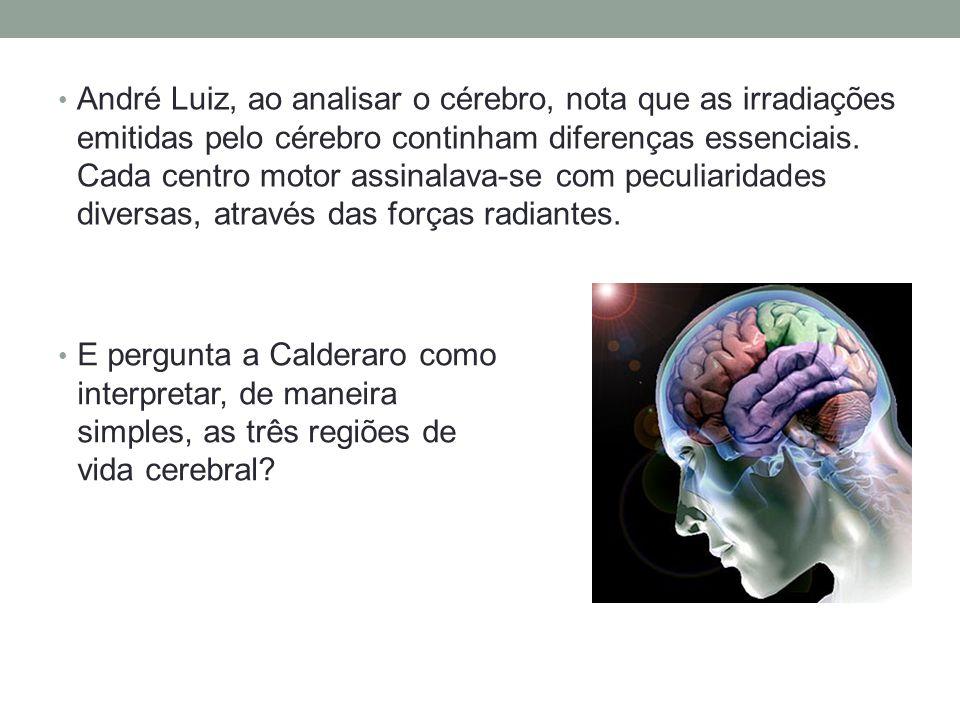 André Luiz, ao analisar o cérebro, nota que as irradiações emitidas pelo cérebro continham diferenças essenciais. Cada centro motor assinalava-se com peculiaridades diversas, através das forças radiantes.
