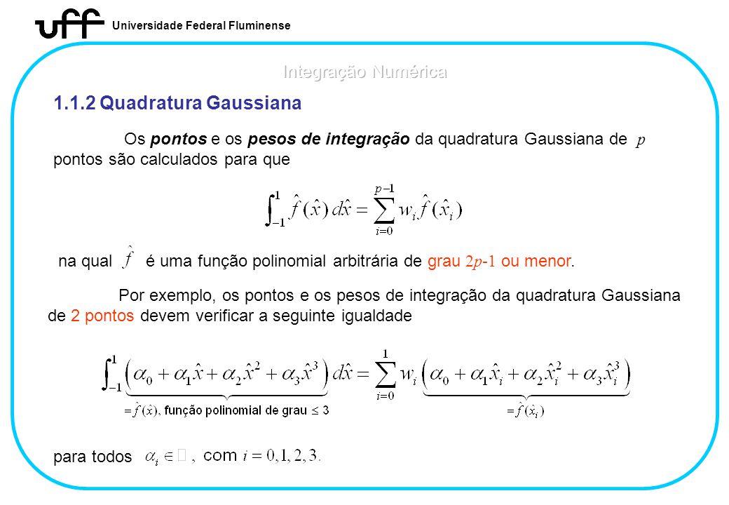 1.1.2 Quadratura Gaussiana Integração Numérica