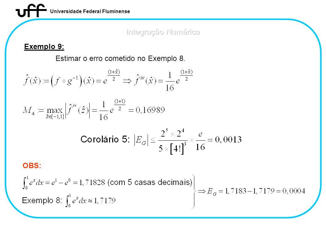 Integração Numérica Exemplo 9: Estimar o erro cometido no Exemplo 8.