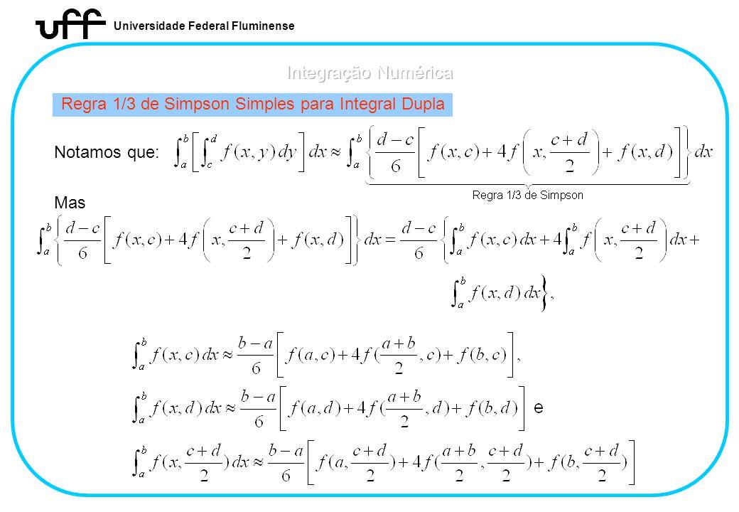 Regra 1/3 de Simpson Simples para Integral Dupla
