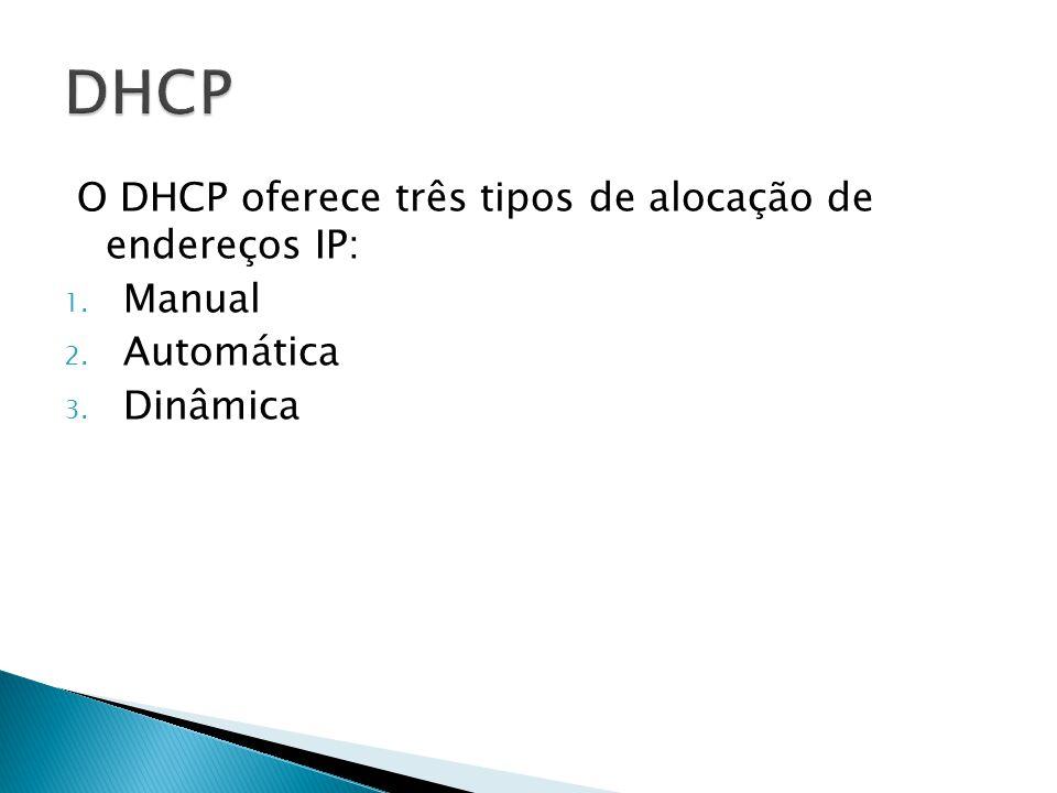 DHCP O DHCP oferece três tipos de alocação de endereços IP: Manual