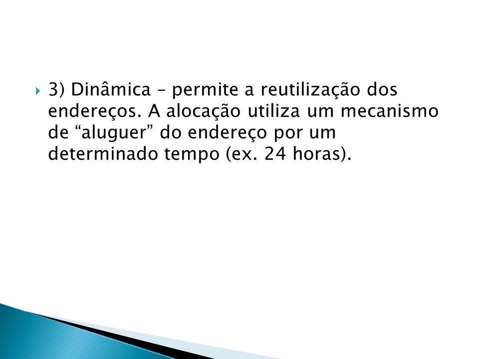3) Dinâmica – permite a reutilização dos endereços