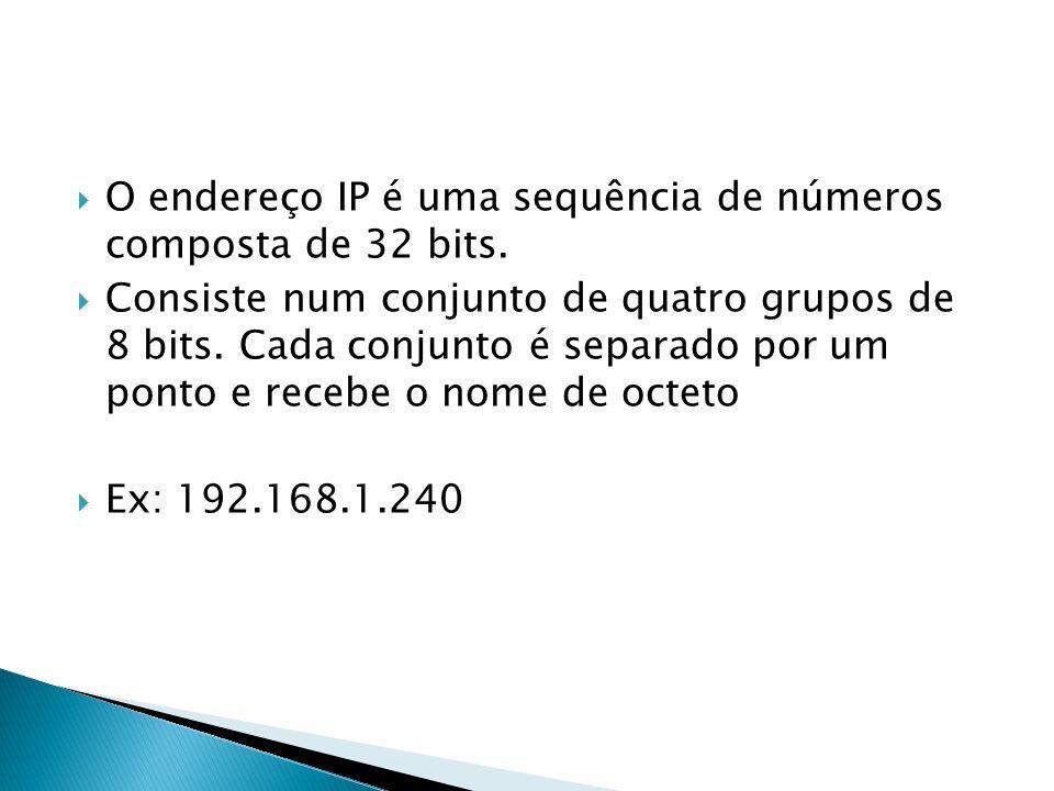 O endereço IP é uma sequência de números composta de 32 bits.