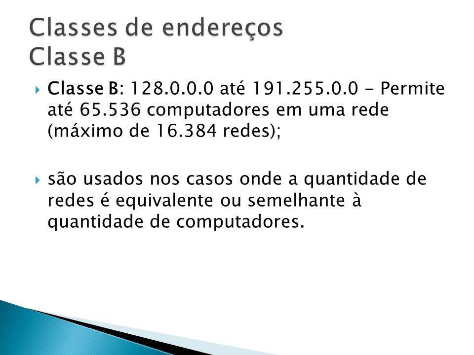 Classes de endereços Classe B