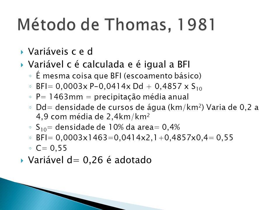 Método de Thomas, 1981 Variáveis c e d