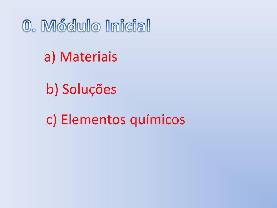 0. Módulo Inicial a) Materiais b) Soluções c) Elementos químicos