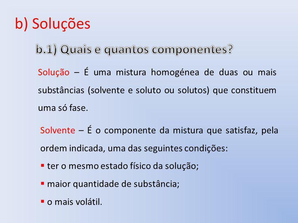 b) Soluções b.1) Quais e quantos componentes