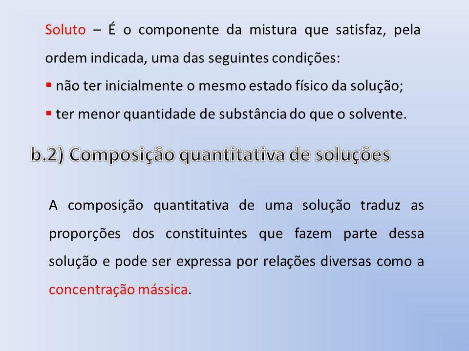 b.2) Composição quantitativa de soluções