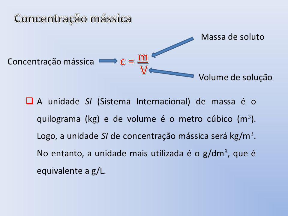 Concentração mássica m c = V Massa de soluto Concentração mássica