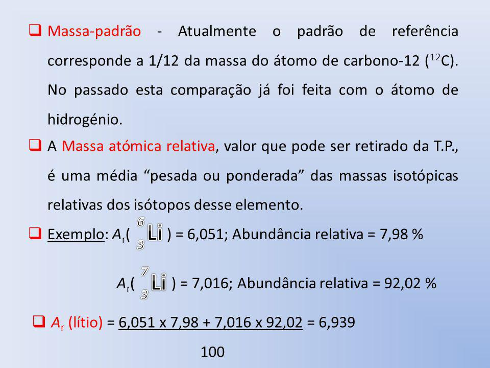 Massa-padrão - Atualmente o padrão de referência corresponde a 1/12 da massa do átomo de carbono-12 (12C). No passado esta comparação já foi feita com o átomo de hidrogénio.