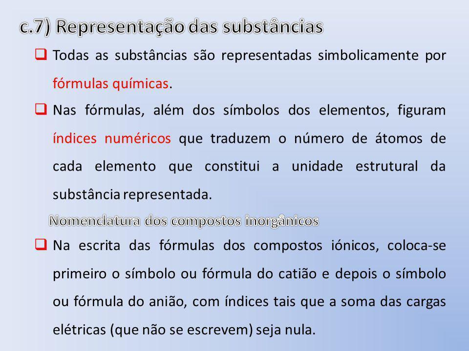 c.7) Representação das substâncias