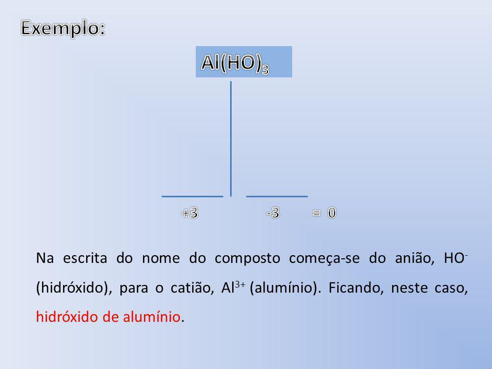 Exemplo: Al3+ Al(HO)3 HO- HO- HO- +3 -3 = 0