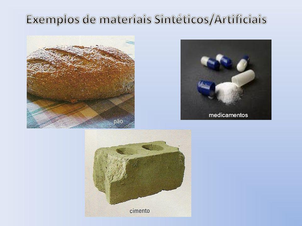 Exemplos de materiais Sintéticos/Artificiais