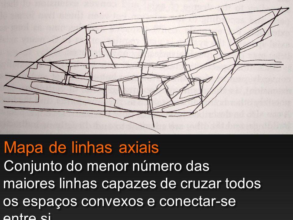 Mapa de linhas axiais Conjunto do menor número das maiores linhas capazes de cruzar todos os espaços convexos e conectar-se entre si.