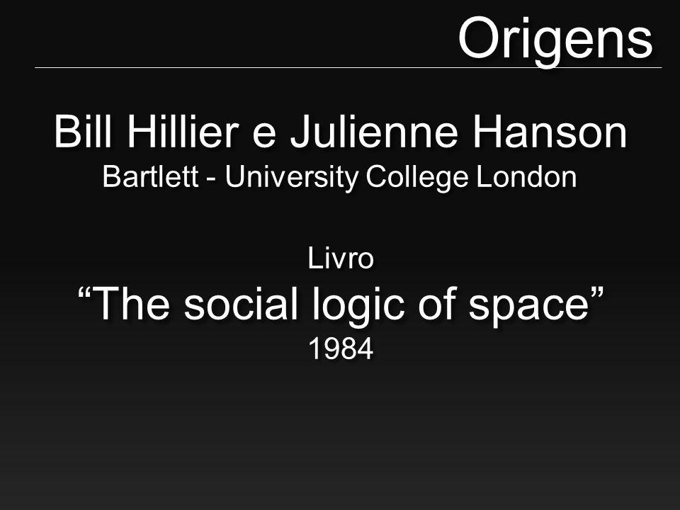 Origens Bill Hillier e Julienne Hanson Bartlett - University College London. Livro. The social logic of space