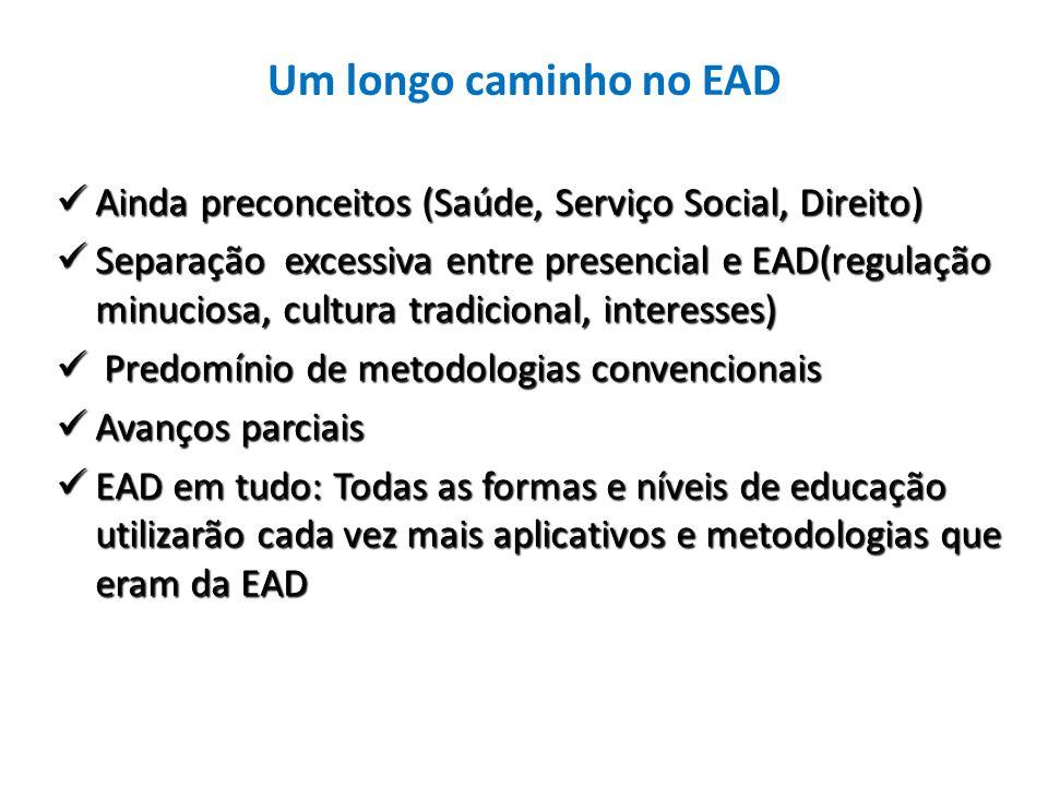 Um longo caminho no EAD Ainda preconceitos (Saúde, Serviço Social, Direito)