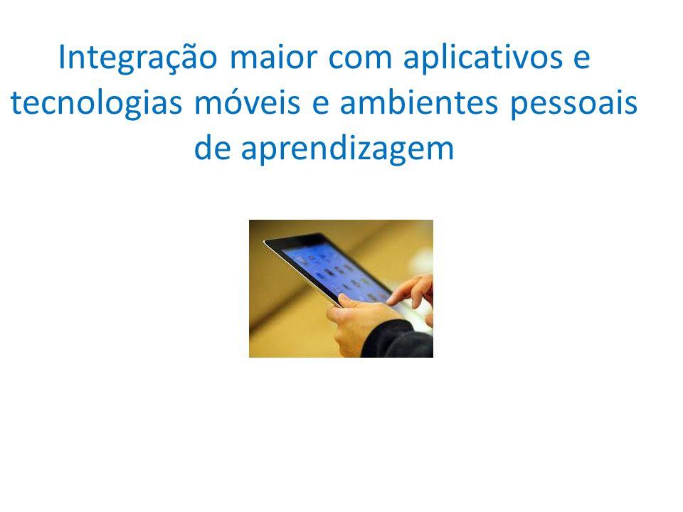 Integração maior com aplicativos e tecnologias móveis e ambientes pessoais de aprendizagem