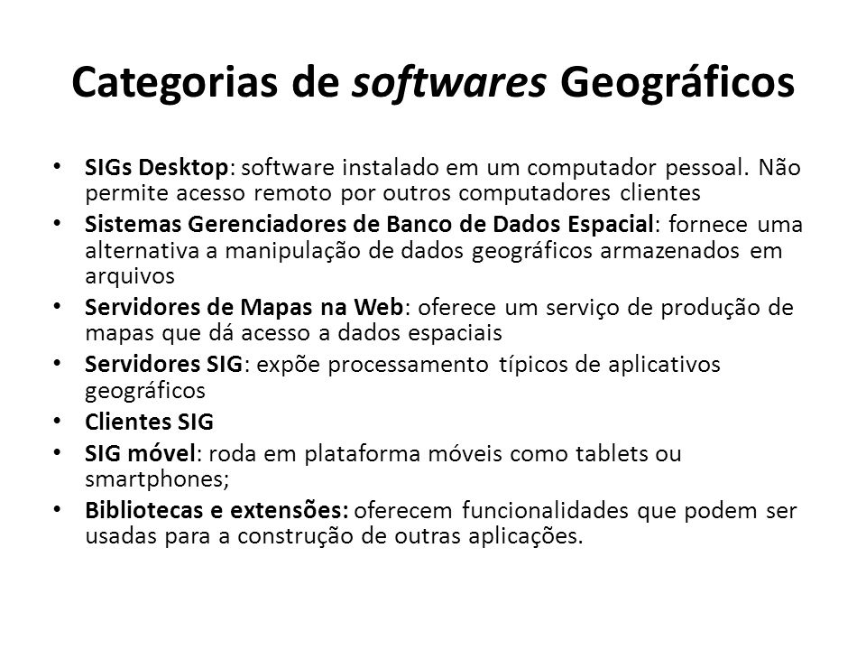 Categorias de softwares Geográficos