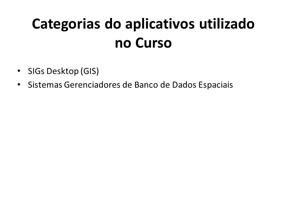 Categorias do aplicativos utilizado no Curso
