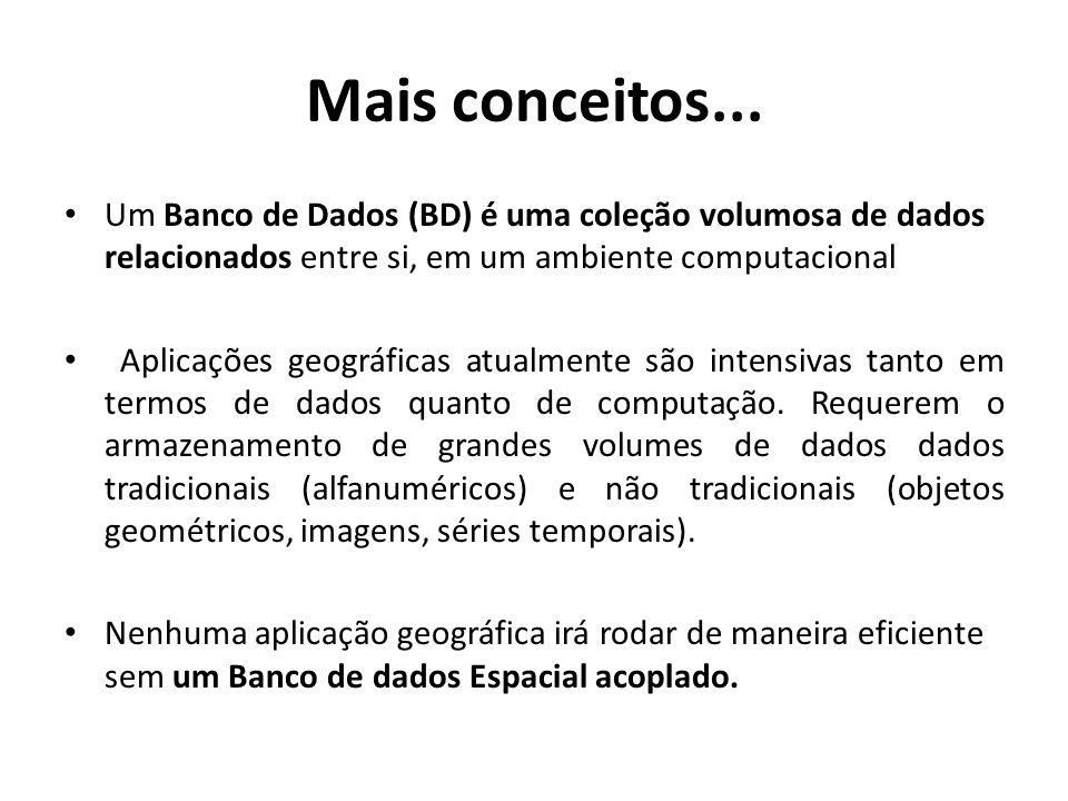 Mais conceitos... Um Banco de Dados (BD) é uma coleção volumosa de dados relacionados entre si, em um ambiente computacional.