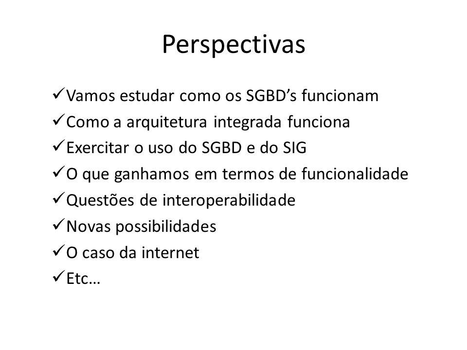 Perspectivas Vamos estudar como os SGBD's funcionam