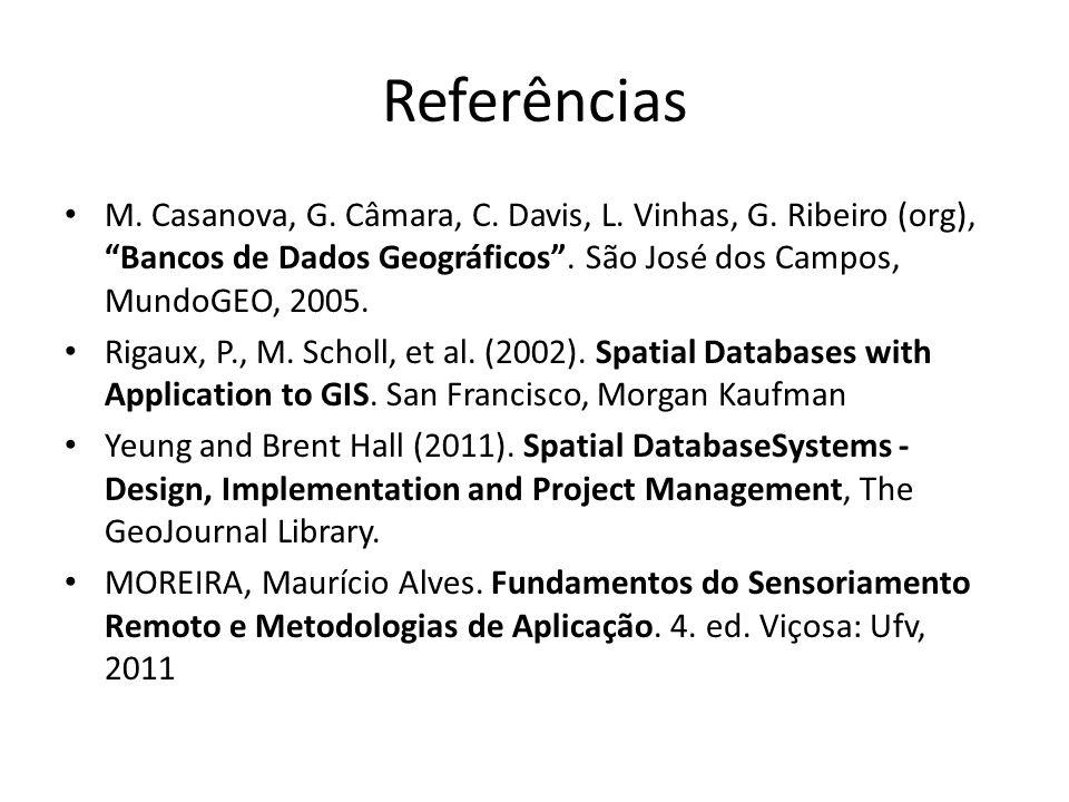 Referências M. Casanova, G. Câmara, C. Davis, L. Vinhas, G. Ribeiro (org), Bancos de Dados Geográficos . São José dos Campos, MundoGEO, 2005.