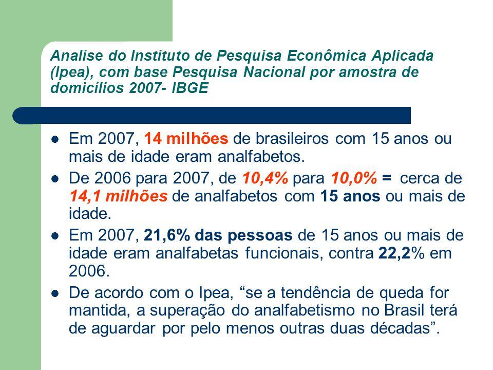 Analise do Instituto de Pesquisa Econômica Aplicada (Ipea), com base Pesquisa Nacional por amostra de domicílios 2007- IBGE