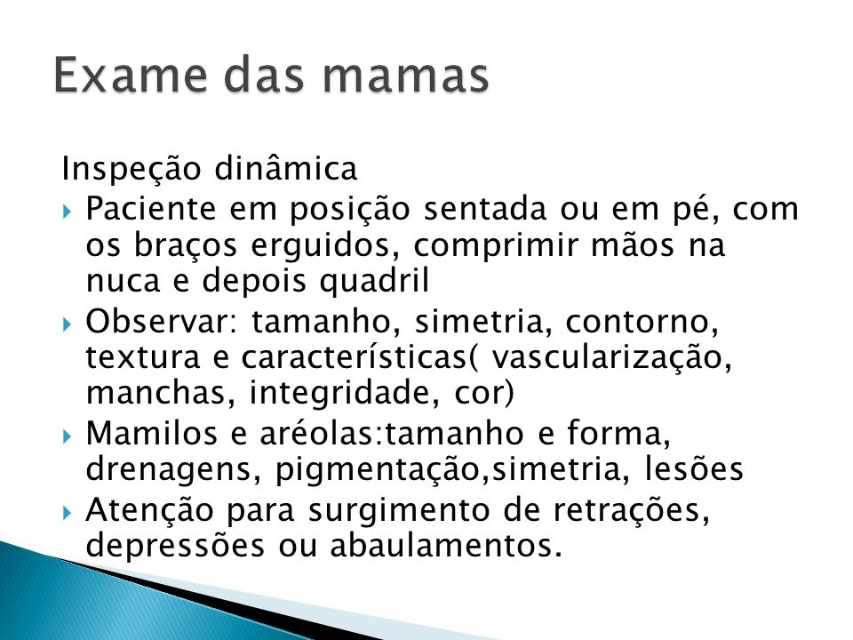 Exame das mamas Inspeção dinâmica
