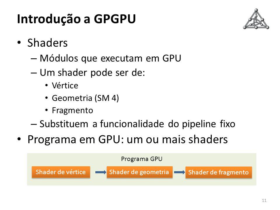 Introdução a GPGPU Shaders Programa em GPU: um ou mais shaders