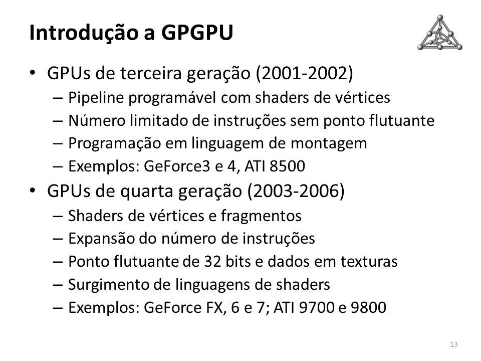 Introdução a GPGPU GPUs de terceira geração (2001-2002)