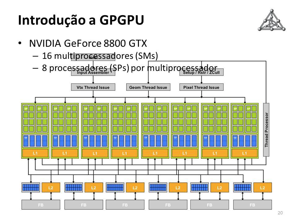 Introdução a GPGPU NVIDIA GeForce 8800 GTX 16 multiprocessadores (SMs)