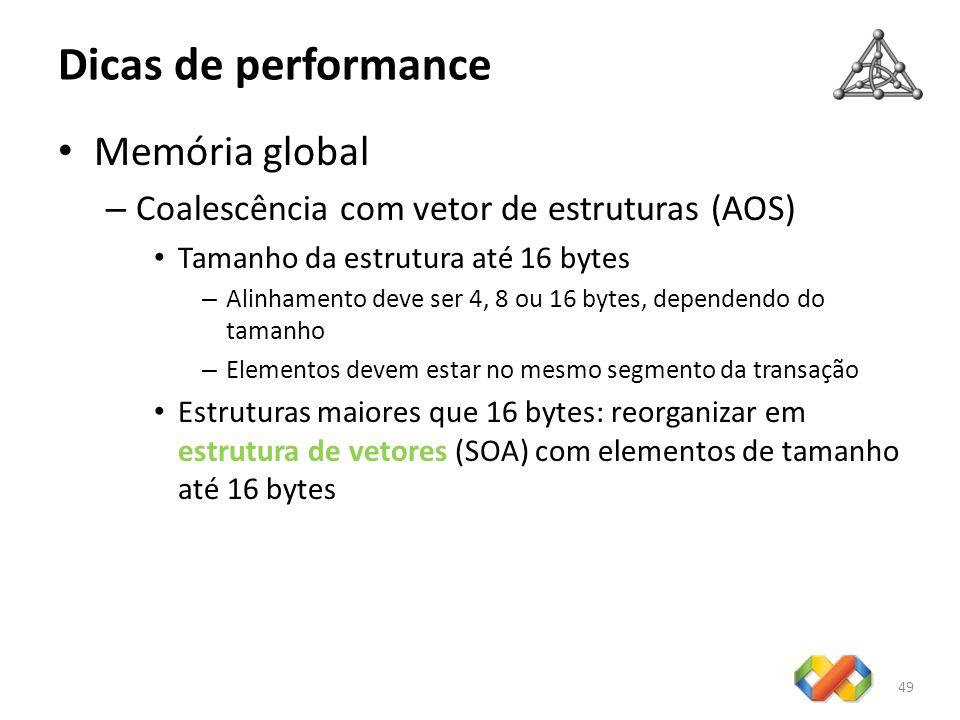 Dicas de performance Memória global