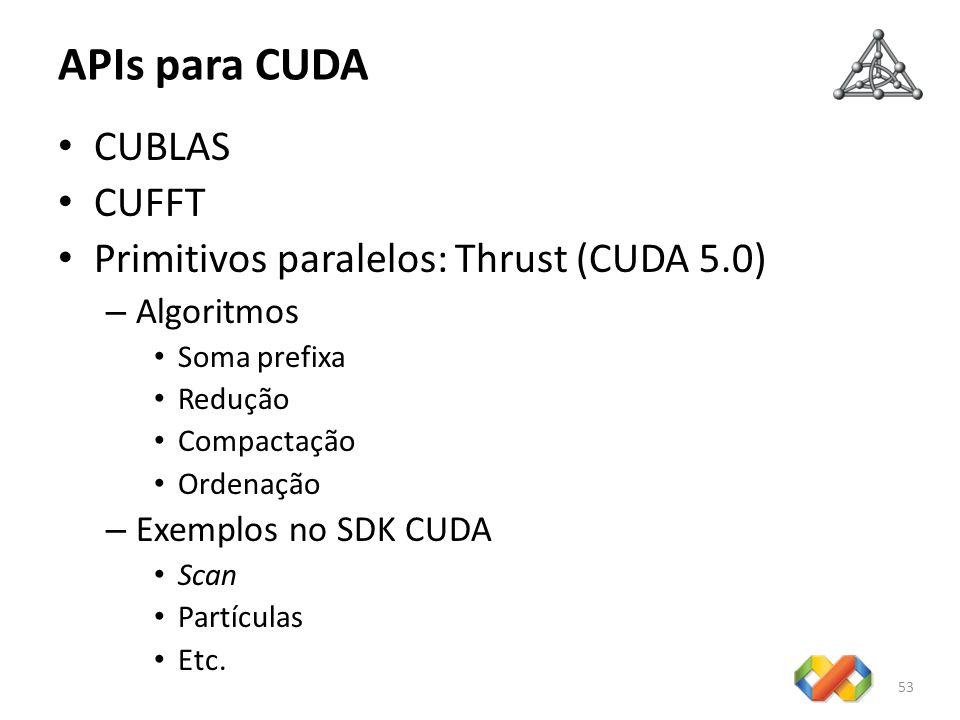 APIs para CUDA CUBLAS CUFFT Primitivos paralelos: Thrust (CUDA 5.0)
