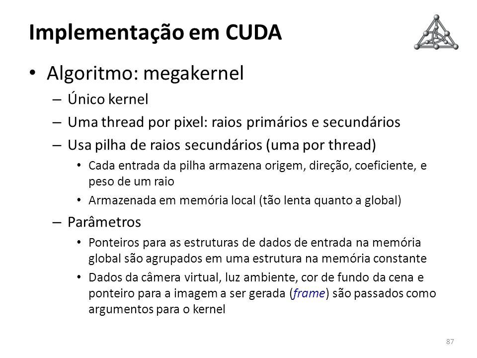 Implementação em CUDA Algoritmo: megakernel Único kernel