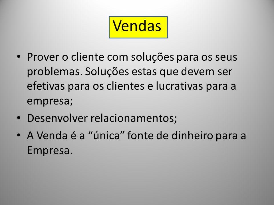 Vendas Prover o cliente com soluções para os seus problemas. Soluções estas que devem ser efetivas para os clientes e lucrativas para a empresa;