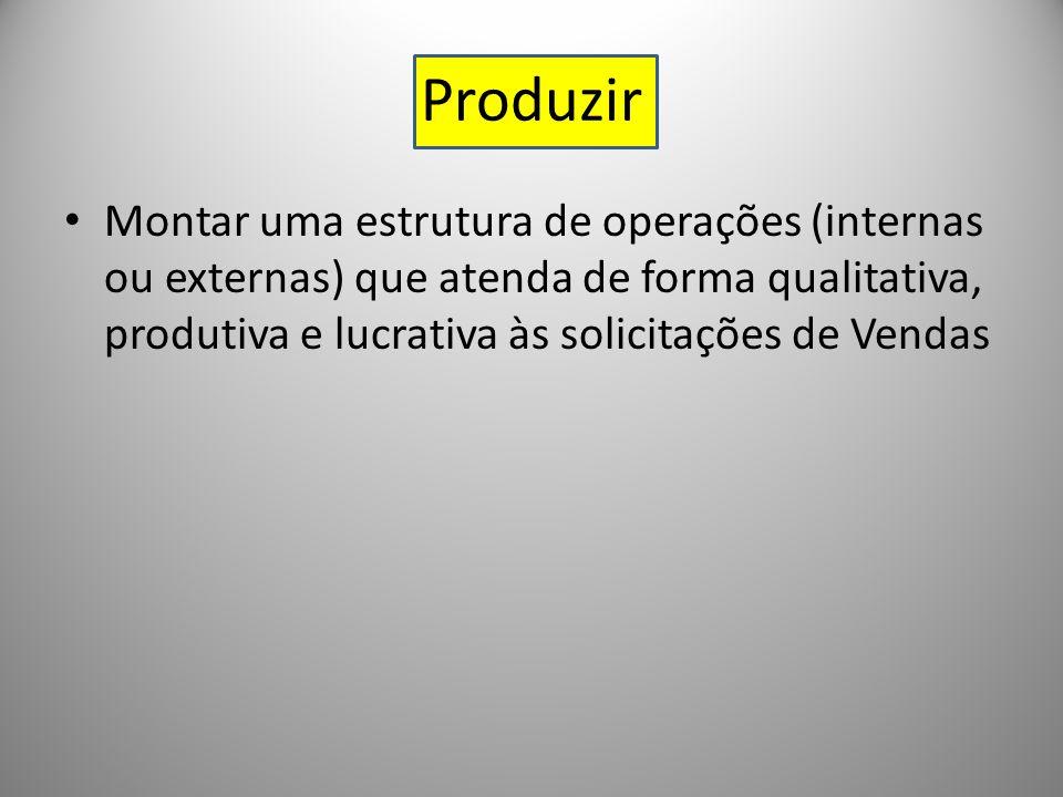 Produzir Montar uma estrutura de operações (internas ou externas) que atenda de forma qualitativa, produtiva e lucrativa às solicitações de Vendas.