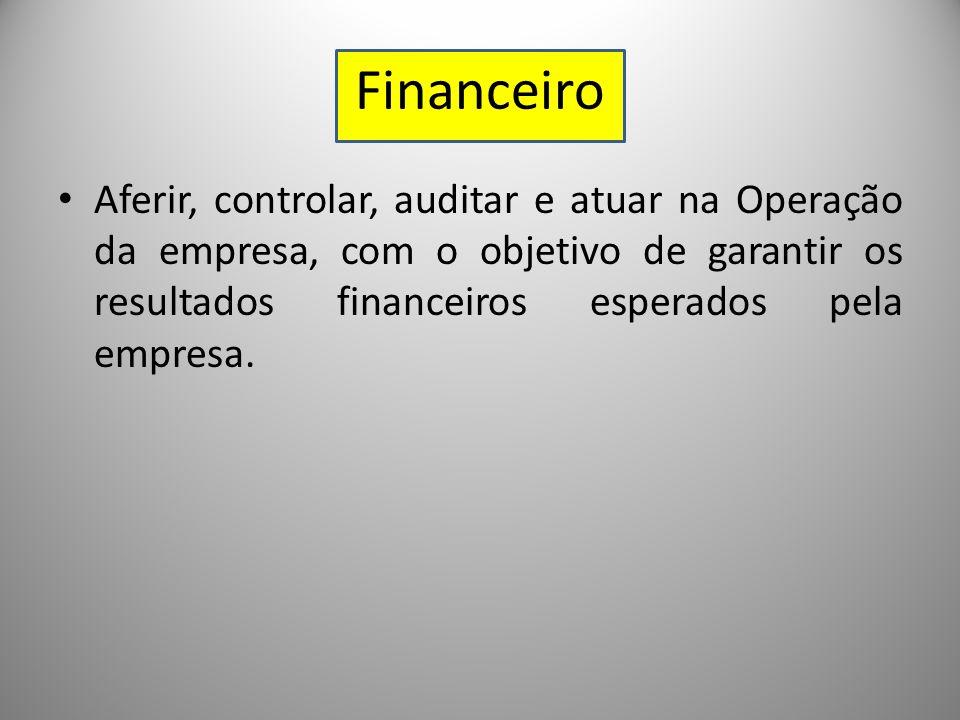 Financeiro Aferir, controlar, auditar e atuar na Operação da empresa, com o objetivo de garantir os resultados financeiros esperados pela empresa.