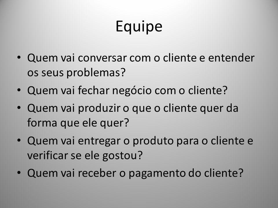 Equipe Quem vai conversar com o cliente e entender os seus problemas