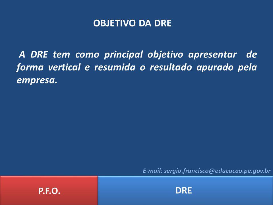 OBJETIVO DA DRE A DRE tem como principal objetivo apresentar de forma vertical e resumida o resultado apurado pela empresa.