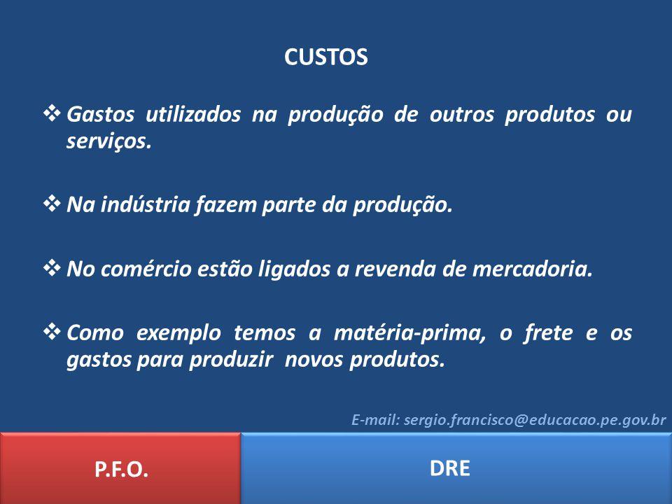 CUSTOS Gastos utilizados na produção de outros produtos ou serviços.