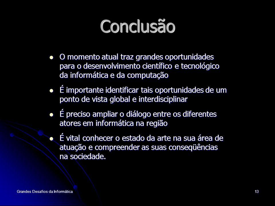 Conclusão O momento atual traz grandes oportunidades para o desenvolvimento científico e tecnológico da informática e da computação.